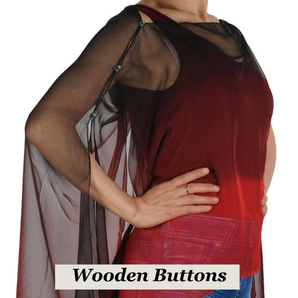wholesale Silky Button Poncho/Cape (Six Button Chiffon) Black Wood Buttons #106 Black-Maroon-Red (Tri-Color) -
