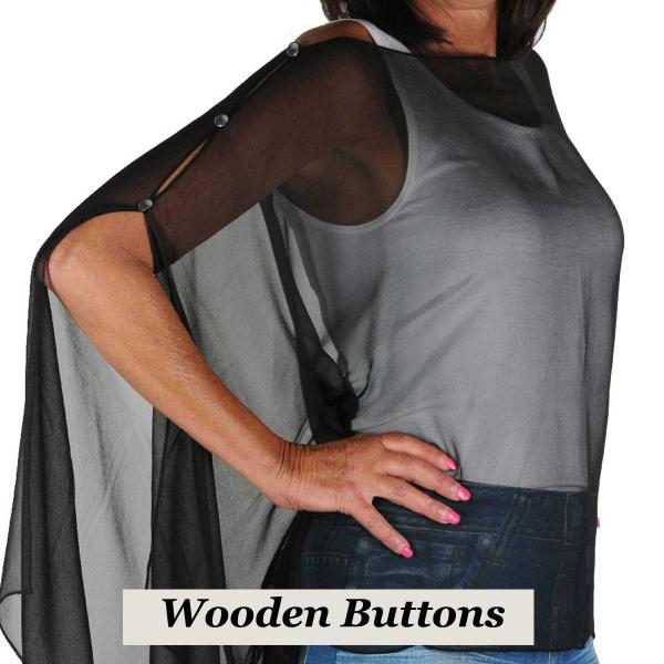 wholesale Silky Button Poncho/Cape (Six Button Chiffon) Black Wood Buttons Solid Black -
