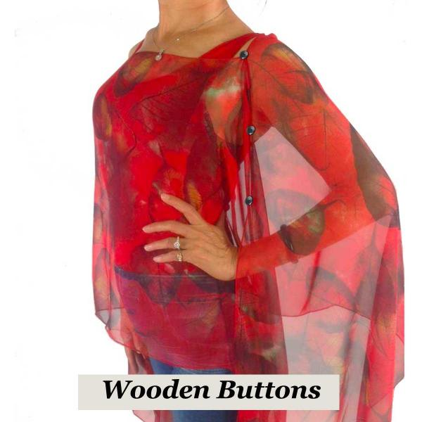 wholesale Silky Button Poncho/Cape (Six Button Chiffon) Black Wood Buttons #129 Red (Leaves) -