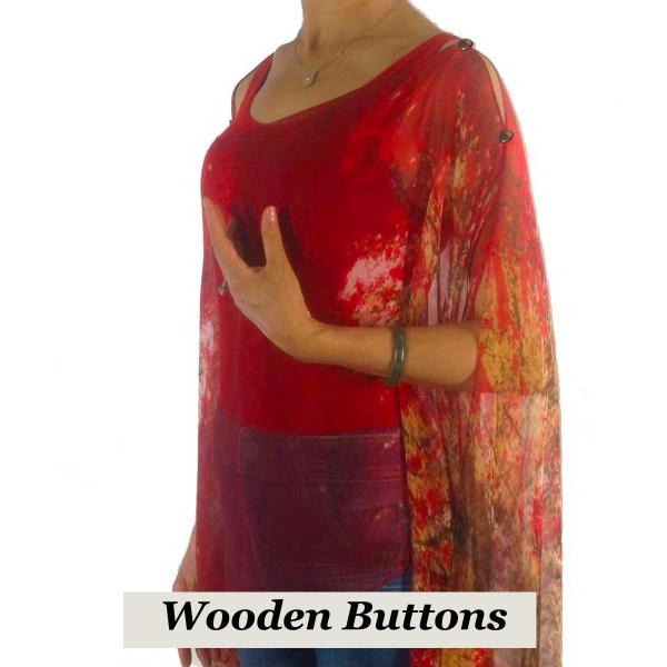 wholesale Silky Button Poncho/Cape (Six Button Chiffon) Brown Wood Buttons #128 Red (Trees) -