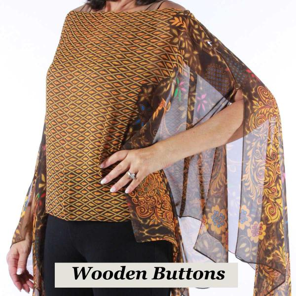 wholesale Silky Button Poncho/Cape (Six Button Chiffon) Brown Wood Buttons #506 Brown (Peacock Abstract) -