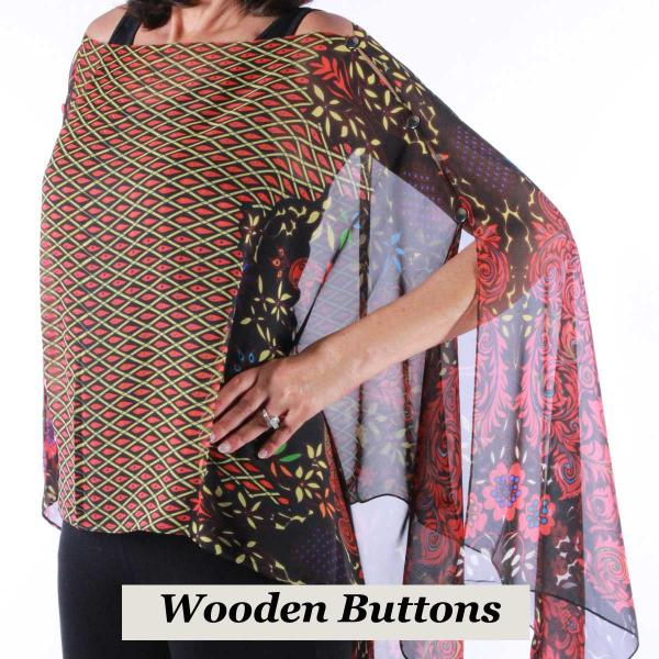wholesale Silky Button Poncho/Cape (Six Button Chiffon) Black Wood Buttons #506 Black-Red (Peacock Abstract) -
