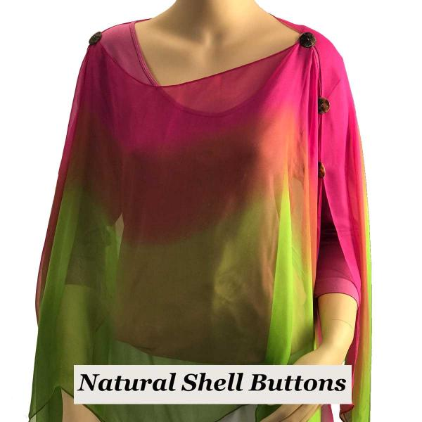 wholesale Silky Button Poncho/Cape (Six Button Chiffon) Natural Shell Buttons #106 Magenta-Mauve-Lime (Tri-Color) (MB) -