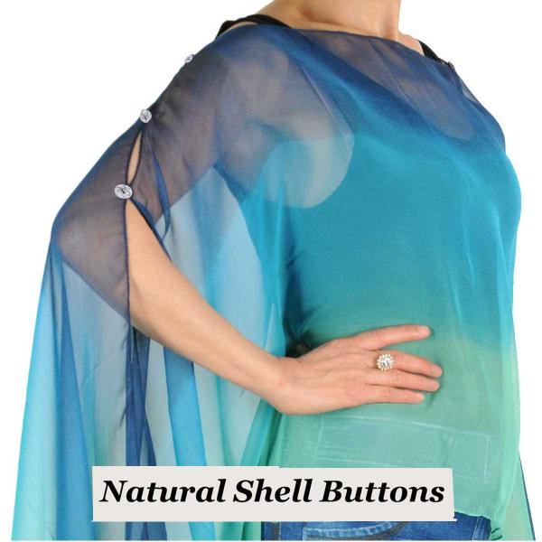 wholesale Silky Button Poncho/Cape (Six Button Chiffon) Natural Shell Buttons #106 Navy-Blue-Seafoam (Tri-Color) -