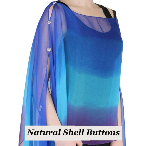 wholesale Silky Button Poncho/Cape (Six Button Chiffon) Natural Shell Buttons #106 Royal-Turquoise-Purple (Tri-Color) -