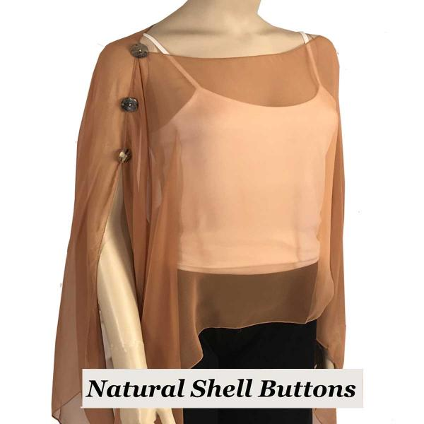 wholesale Silky Button Poncho/Cape (Six Button Chiffon) Natural Shell Buttons Solid Copper  -
