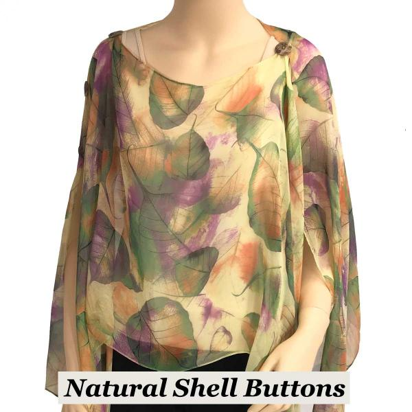 wholesale Silky Button Poncho/Cape (Six Button Chiffon) Natural Shell Buttons #129 Green (Leaves) -