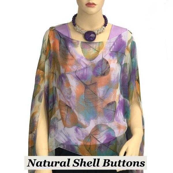 wholesale Silky Button Poncho/Cape (Six Button Chiffon) Natural Shell Buttons #129 Teal (Leaves) -