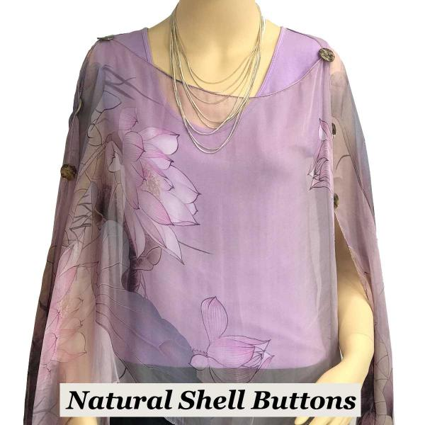 wholesale Silky Button Poncho/Cape (Six Button Chiffon) Natural Shell Buttons #130 Purple-Lavender (Lotus) -