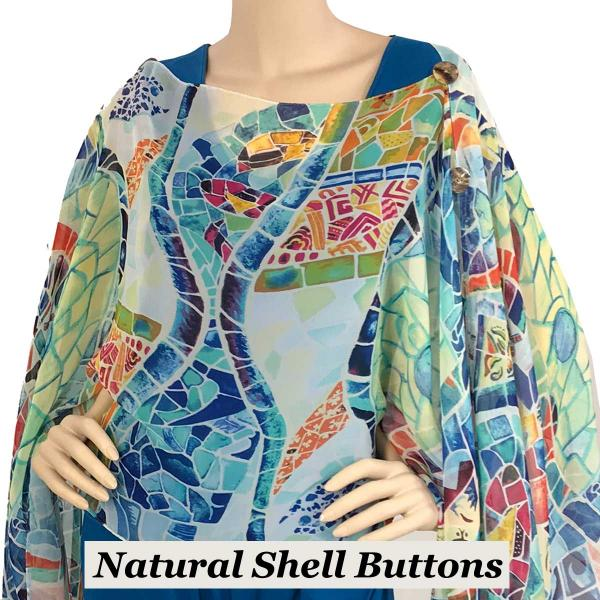 wholesale Silky Button Poncho/Cape (Six Button Chiffon) Natural Shell Buttons #714-2 White (Stained Glass) -