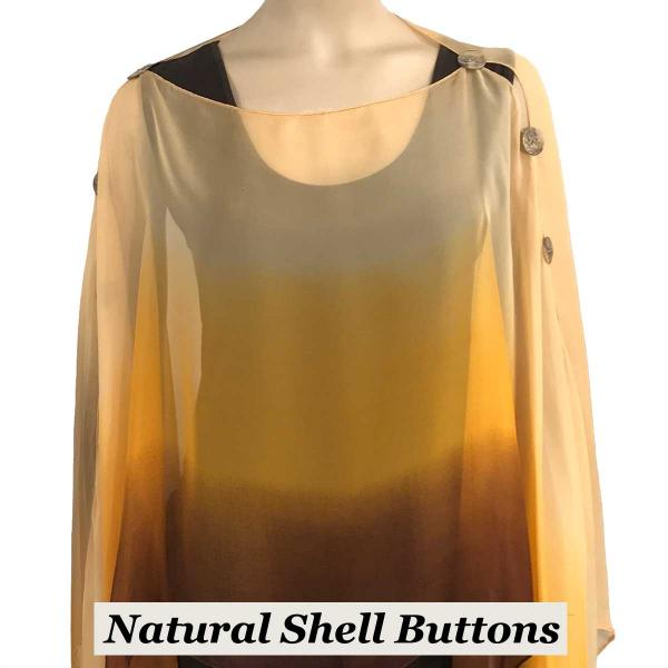 wholesale Silky Button Poncho/Cape (Six Button Chiffon) Natural Shell Buttons #106 Brown-Beige-Orange (Tri-Color) -
