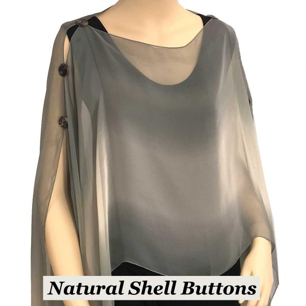 wholesale Silky Button Poncho/Cape (Six Button Chiffon) Natural Shell Buttons #106 Charcoal-Beige-Grey (Tri-Color) -