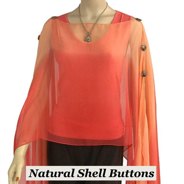 wholesale Silky Button Poncho/Cape (Six Button Chiffon) Natural Shell Buttons #106 Corals (Tri-Color) (MB) -
