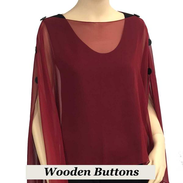 wholesale Silky Button Poncho/Cape (Six Button Chiffon) Black Wood Buttons Solid Burgundy -