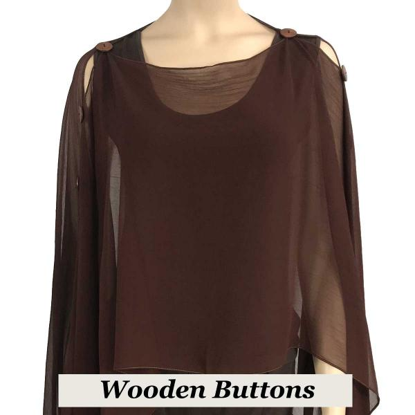 wholesale Silky Button Poncho/Cape (Six Button Chiffon) Brown Wood Buttons Solid Dark Brown -