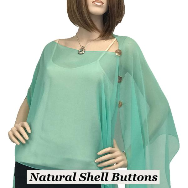 wholesale Silky Button Poncho/Cape (Six Button Chiffon) Natural Shell Buttons Solid Mint -
