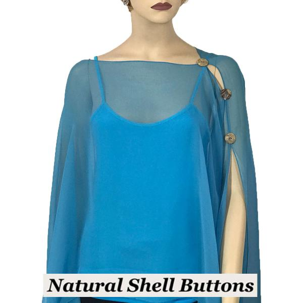 wholesale Silky Button Poncho/Cape (Six Button Chiffon) Natural Shell Buttons Solid Turquoise -