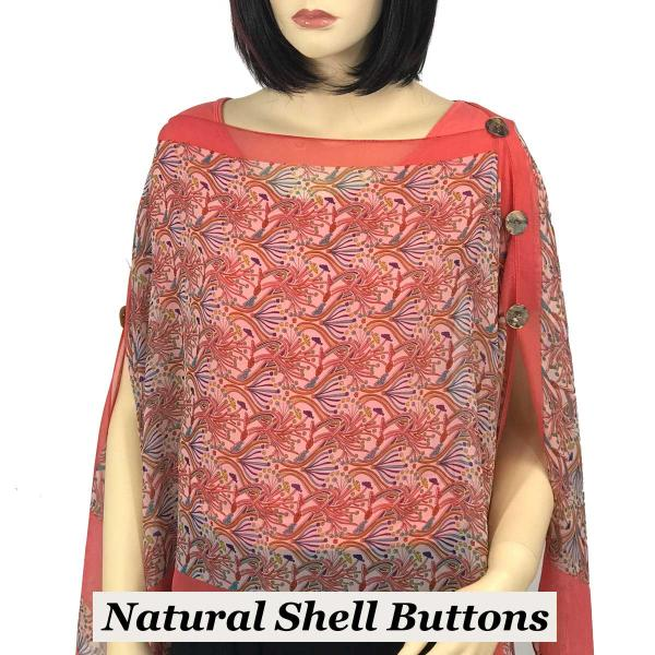 wholesale Silky Button Poncho/Cape (Six Button Chiffon) Natural Shell Buttons #012 Coral -