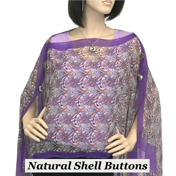 wholesale Silky Button Poncho/Cape (Six Button Chiffon) Natural Shell Buttons #012 Purple -