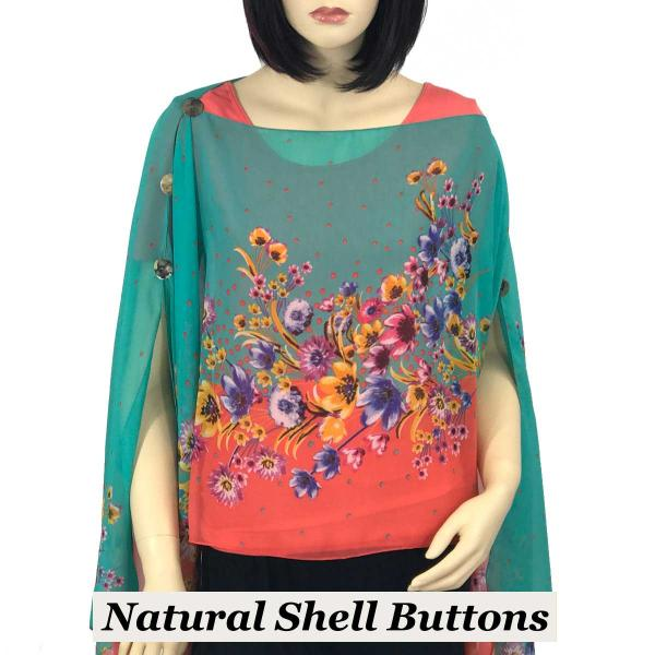 wholesale Silky Button Poncho/Cape (Six Button Chiffon) Natural Shell Buttons #015 Coral -