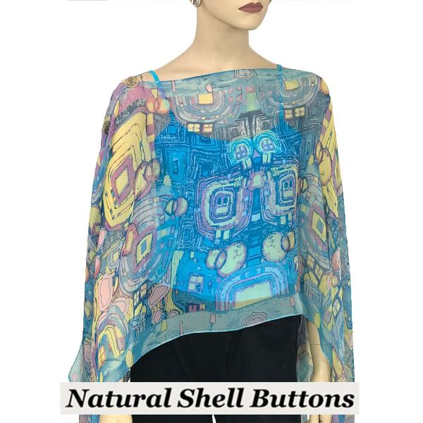 wholesale Silky Button Poncho/Cape (Six Button Chiffon) Natural Shell Buttons #111 Blue (Abstract) -