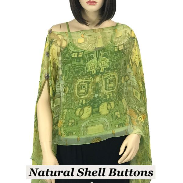 wholesale Silky Button Poncho/Cape (Six Button Chiffon) Natural Shell Buttons #111 Green (Abstract) -