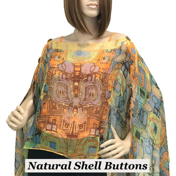 wholesale Silky Button Poncho/Cape (Six Button Chiffon) Natural Shell Buttons #111 Orange (Abstract) -