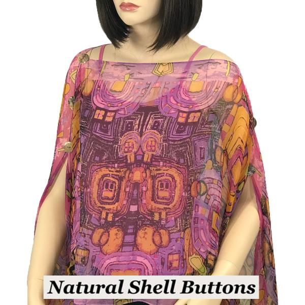 wholesale Silky Button Poncho/Cape (Six Button Chiffon) Natural Shell Buttons #111 Pink (Abstract) -