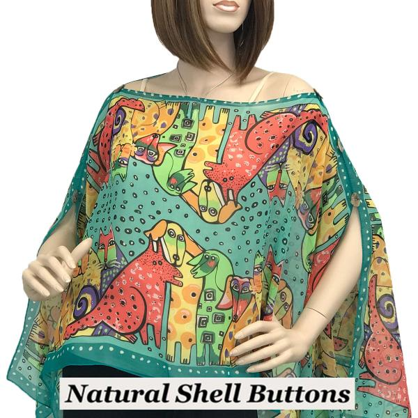 wholesale Silky Button Poncho/Cape (Six Button Chiffon) Natural Shell Buttons #720 Teal (Cats and Dogs) -