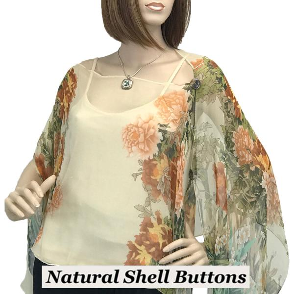 wholesale Silky Button Poncho/Cape (Six Button Chiffon) Natural Shell Buttons #704 Cream (Floral Border) -