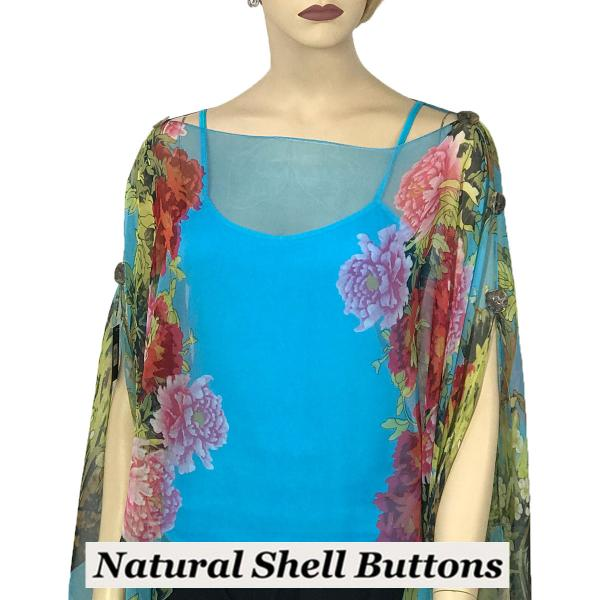 wholesale Silky Button Poncho/Cape (Six Button Chiffon) Natural Shell Buttons #704 Turquoise (Floral Border) -