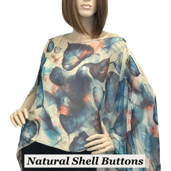 wholesale Silky Button Poncho/Cape (Six Button Chiffon) Natural Shell Buttons #129 Blue (Leaves) -