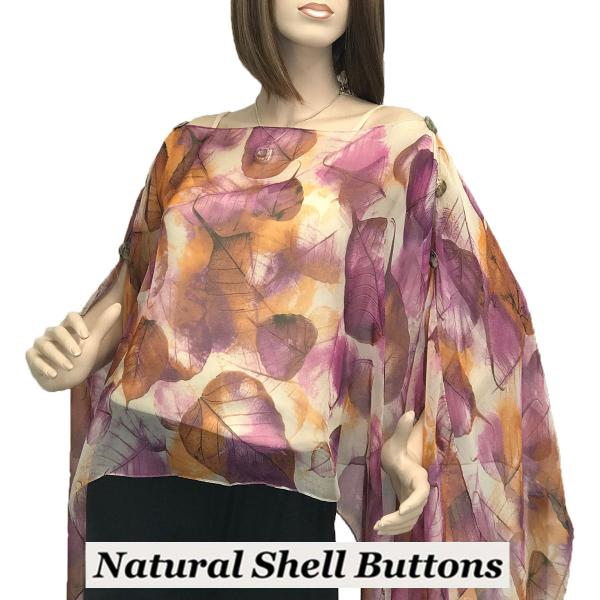 wholesale Silky Button Poncho/Cape (Six Button Chiffon) Natural Shell Buttons #129 Purple (Leaves) -