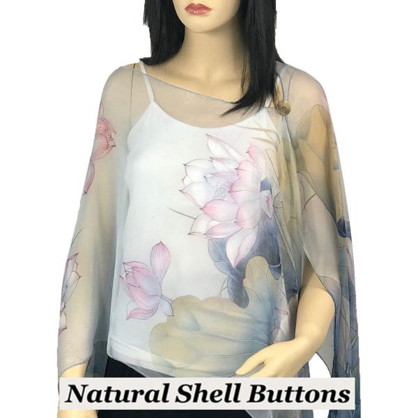 wholesale Silky Button Poncho/Cape (Six Button Chiffon) Natural Shell Buttons #130 Blue-Pink (Lotus) -