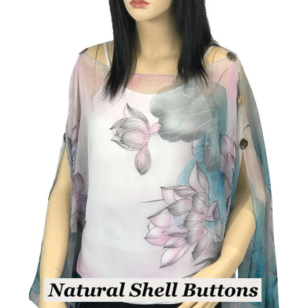 wholesale Silky Button Poncho/Cape (Six Button Chiffon) Natural Shell Buttons #130 Teal-Pink (Lotus) -