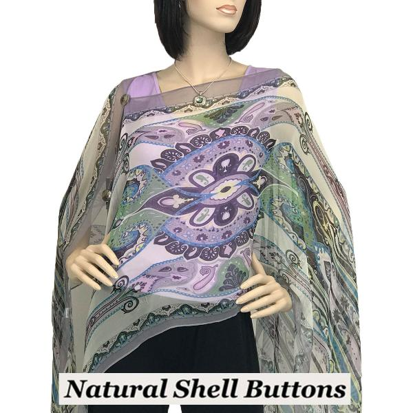 wholesale Silky Button Poncho/Cape (Six Button Chiffon) Natural Shell Buttons #722 Lavender (Paisley Abstract) -