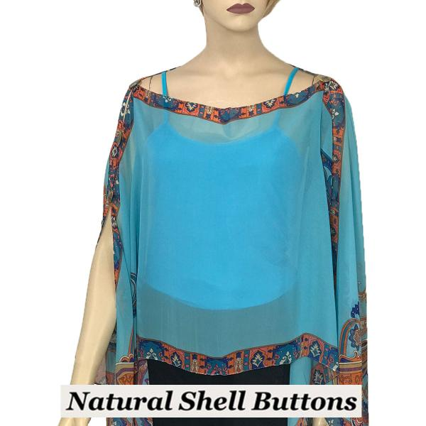 wholesale Silky Button Poncho/Cape (Six Button Chiffon) Natural Shell Buttons #184 Sky Blue (Paisley Serpentine) -