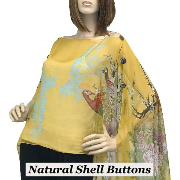 wholesale Silky Button Poncho/Cape (Six Button Chiffon) Natural Shell Buttons #115 Gold (Peacock) -