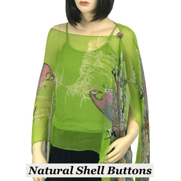 wholesale Silky Button Poncho/Cape (Six Button Chiffon) Natural Shell Buttons #115 Lime (Peacock) -