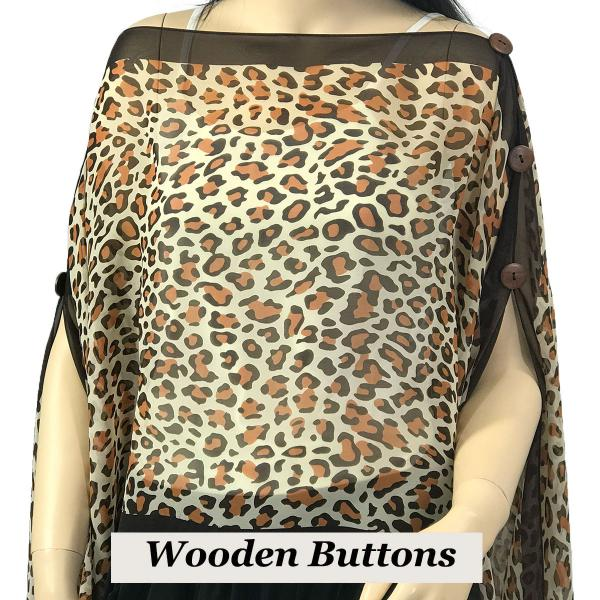 wholesale Silky Button Poncho/Cape (Six Button Chiffon) Brown Wood Buttons #104 Brown (Cheetah) -