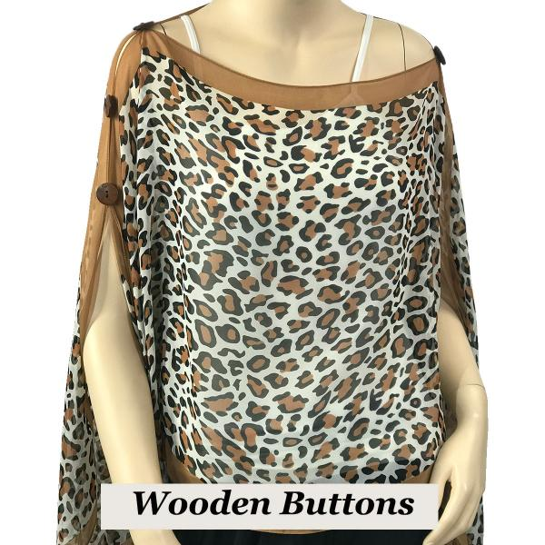 wholesale Silky Button Poncho/Cape (Six Button Chiffon) Brown Wood Buttons #104 Camel (Cheetah) -