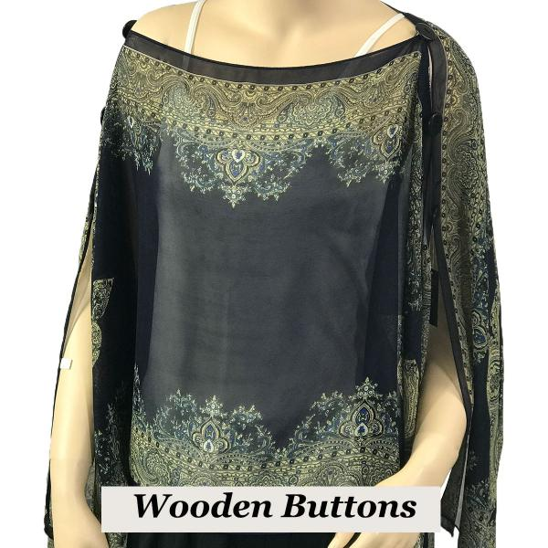 wholesale Silky Button Poncho/Cape (Six Button Chiffon) Black Wood Buttons #107 Midnight (Paisley Border) -