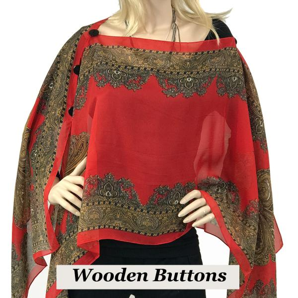 wholesale Silky Button Poncho/Cape (Six Button Chiffon) Black Wood Buttons #107 Red (Paisley Border) -