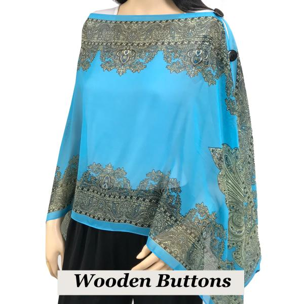 wholesale Silky Button Poncho/Cape (Six Button Chiffon) Black Wood Buttons #107 Jade (Paisley Border) -