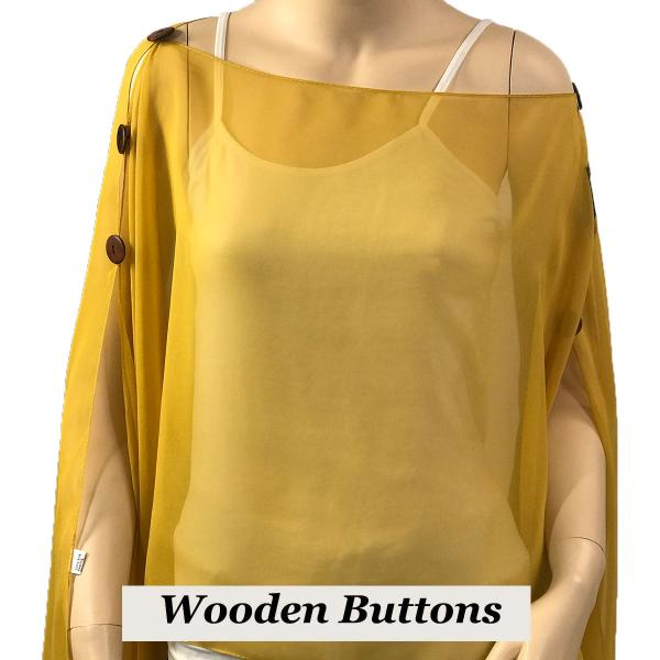wholesale Silky Button Poncho/Cape (Six Button Chiffon) Brown Wood Buttons Solid Mustard -