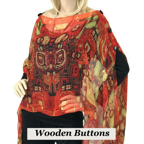 wholesale Silky Button Poncho/Cape (Six Button Chiffon) Black Wood Buttons #111 Red (Abstract) -