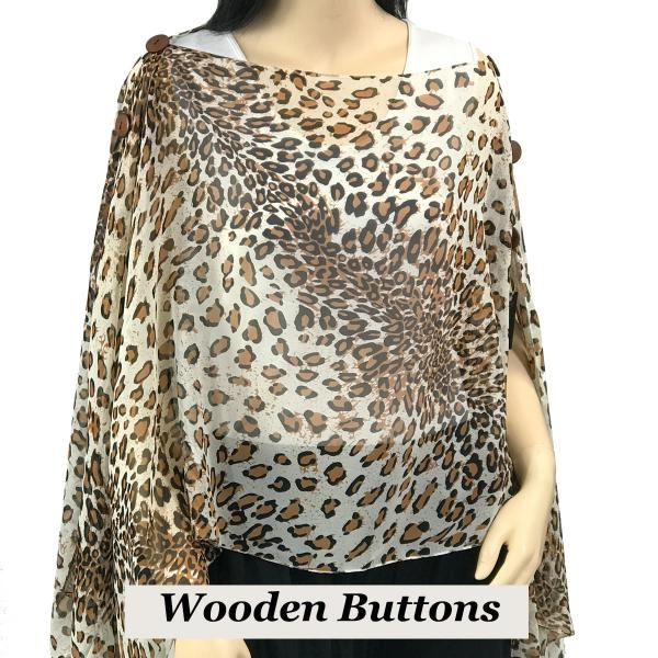 wholesale Silky Button Poncho/Cape (Six Button Chiffon) Brown Wood Buttons #503 WH (Cheetah 2) -