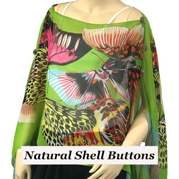 wholesale Silky Button Poncho/Cape (Six Button Chiffon) Natural Shell Buttons #714 Green (Big Butterfly) -
