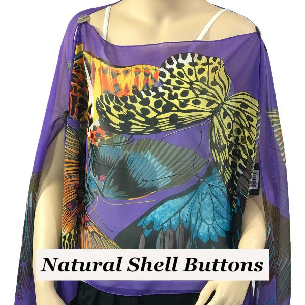 wholesale Silky Button Poncho/Cape (Six Button Chiffon) Natural Shell Buttons #714 Purple (Big Butterfly) -