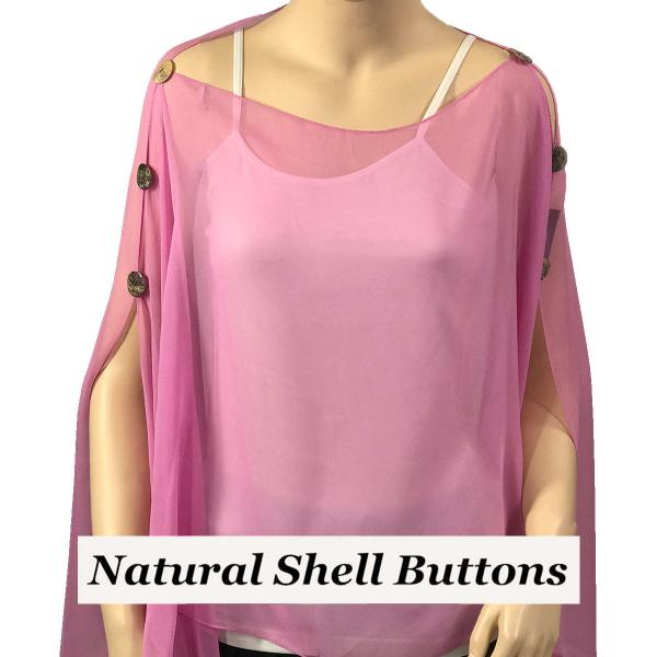 wholesale Silky Button Poncho/Cape (Six Button Chiffon) Natural Shell Buttons Solid Raspberry  -